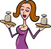 Illustration of Beautiful Woman Cartoon Character with weights or Libra Horoscope Zodiac Sign
