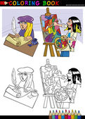 Coloring Book or Page Cartoon Illustration of Poet writing poem and Painter painting Oil Picture