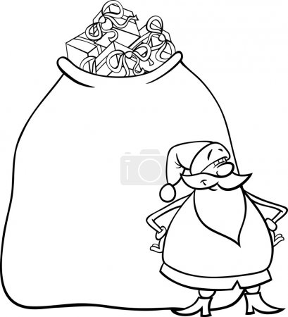 Illustration for Cartoon Illustration of Funny Santa Claus or Papa Noel with Huge Sack Full of Christmas Presents for Coloring Book - Royalty Free Image