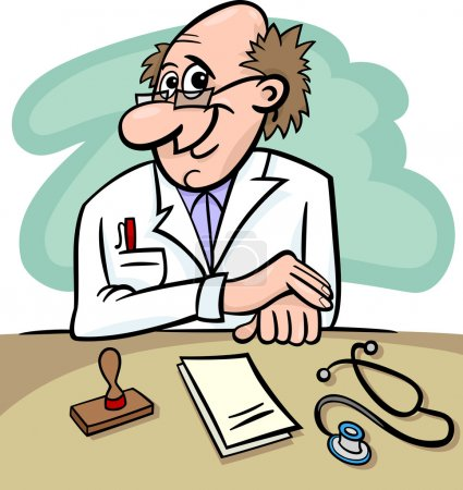 Doctor in clinic cartoon illustration