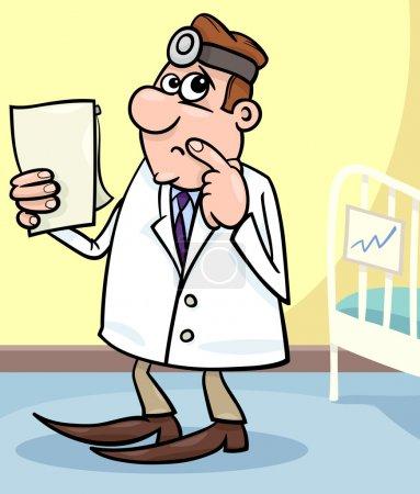 Cartoon illustration of doctor in hospital