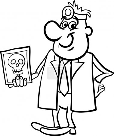 Doctor with xray black and white cartoon