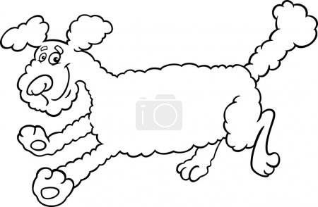 Running poodle cartoon for coloring
