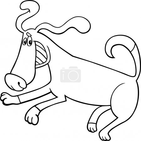 Playful dog cartoon for coloring book