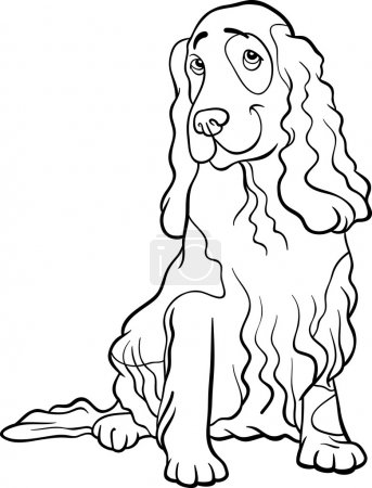 Cocker spaniel dog cartoon for coloring book