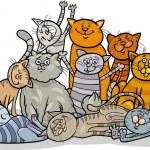 Cartoon Illustration of Happy Cats or Kittens Grou...