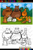 Cartoon Illustration of Funny Forest Wild Animals like Bears Hedgehog Deer Hare and Fox for Coloring Book or Coloring Page