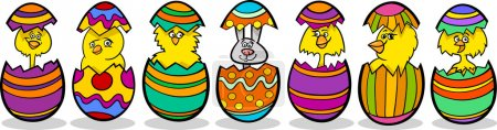 Chickens in easter eggs cartoon illustration