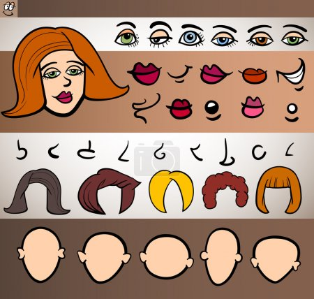 Illustration for Cartoon Illustration of Funny Woman Face Elements such Eyes, Lips, Noses, Heads and Hair for Animation or Application - Royalty Free Image