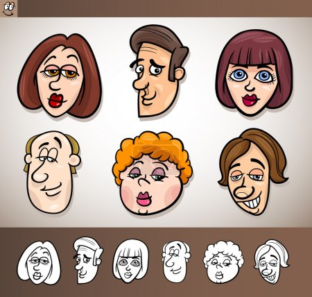 Illustration for Cartoon Illustration of Funny Set with Men and Women Heads plus Black and White versions - Royalty Free Image