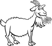 Black and White Cartoon Illustration of Funny Goat Farm Animal for Coloring Book