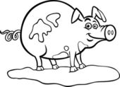 Black and White Cartoon Illustration of Funny Pig Farm Animal in Mud for Coloring Book