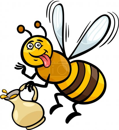 Illustration for Cartoon Illustration of Funny Bee with Pot of Honey or Nectar - Royalty Free Image
