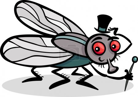 Illustration for Cartoon Illustration of Funny Fly or Housefly with Hat and Cane - Royalty Free Image