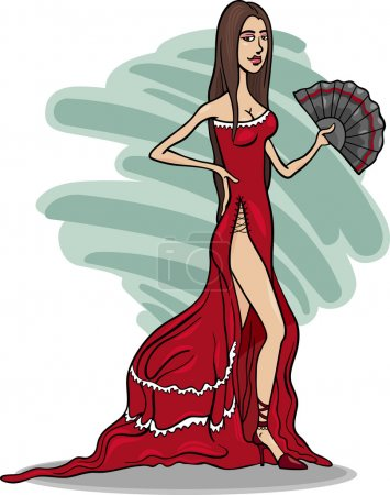 Illustration for Cartoon Illustration of Beautiful Sexy Woman in Red Dress or Gown or Spanish Dancer - Royalty Free Image