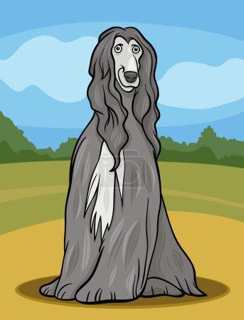 afghan hound dog cartoon illustration