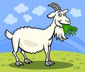 Cartoon Illustration of Funny Comic Goat Animal on the Farm