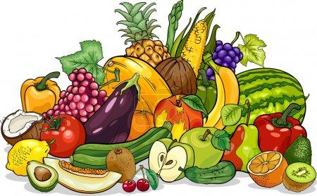 Illustration pour Dessin animé Illustration de fruits et légumes Big Group Food Design - image libre de droit