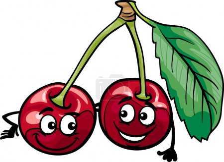 Illustration for Cartoon Illustration of Funny Cherry Fruits Food Comic Character - Royalty Free Image