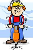 Dělník s Pneumatické kladivo kreslený