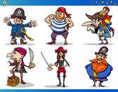 Piráti karikatura znaky sady