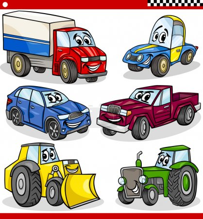 Illustration for Cartoon Illustration of Cars and Trucks Vehicles and Machines Comic Characters Set for Children - Royalty Free Image