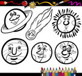 Cartoon Planets and Orbs coloring page