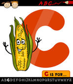 Cartoon Illustration of Capital Letter C from Alphabet with Corn Cob for Children Education