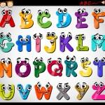 Cartoon Illustration of Funny Capital Letters Alph...