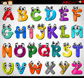 Cartoon Illustration of Funny Capital Letters Alphabet for Children Education