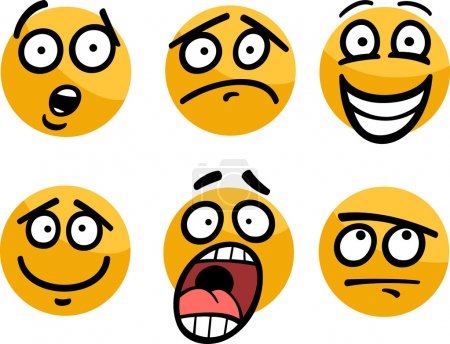 Illustration for Cartoon Illustration of Funny Emoticon or Emotions and Expressions like Sad, Happy, Fear or Skeptic - Royalty Free Image