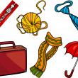 Cartoon Illustration of Different Household Object...