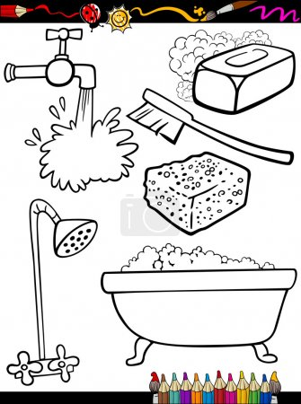 Illustration for Coloring Book or Page Cartoon Illustration of Black and White Hygiene Objects Set for Children Education - Royalty Free Image