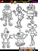 Coloring Book or Page Cartoon Illustration Set of Black and White Fantasy or Science Fiction Robots Comic Mascot Characters for Children