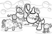 Black and White Cartoon Illustrations of Fantasy Creatures Comic Mascot Characters Group for Children for Coloring Book