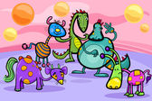 Cartoon Illustrations of Fantasy Creatures Comic Mascot Characters Group for Children