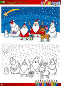 Pagina da colorare di Babbo Natale gruppo