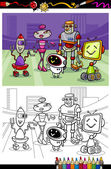 cartoon robots group coloring book