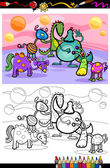 Coloring Book or Page Cartoon Illustrations of Fantasy Creatures Comic Mascot Characters Group for Children