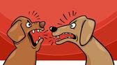 angry barking dogs cartoon illustration