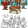 Постер, плакат: Knights of the round table coloring page