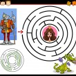 Cartoon Illustration of Education Maze or Labyrint...