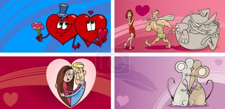 Illustration for Cartoon Illustration of Greeting Cards with People in Love and Mascot Characters and other Valentines Day Themes Set - Royalty Free Image