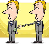 Concept Cartoon Illustration of Man or Businessman and Tax Collector or Thief