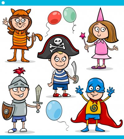 Illustration for Cartoon Illustration of Cute Children in Fancy Ball Costumes Characters Set - Royalty Free Image