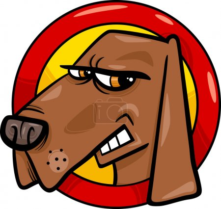 bad dog sign cartoon illustration
