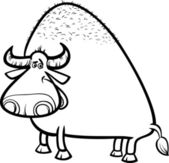 Black and White Cartoon Illustration of Funny Bull or Buffalo for Coloring Book