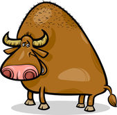 Cartoon Illustration of Funny Bull or Buffalo
