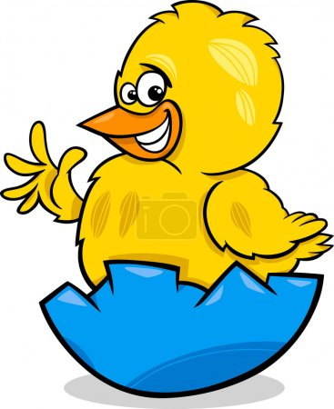 Easter chicken cartoon illustration