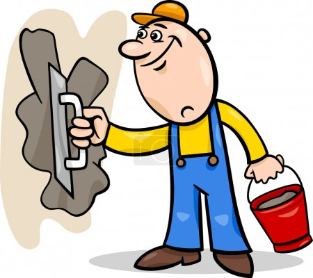 Worker with plaster cartoon illustration